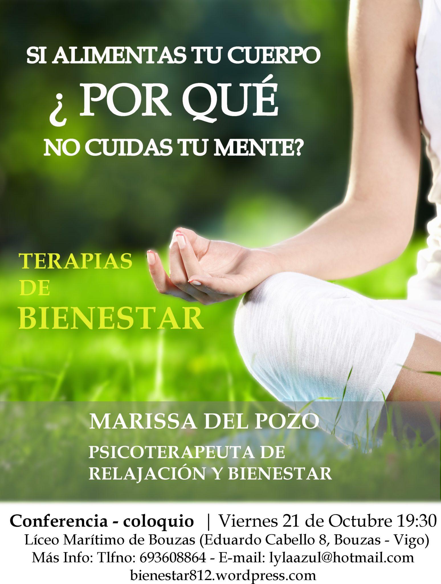 Conferencia coloquio viernes 21 a las 19.30 h. Marissa del Pozo Psicoterapeuta de relajación y bienestar. Acceso publico.