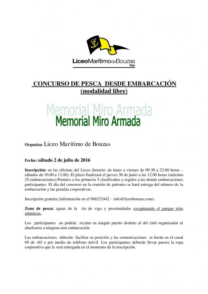 CONCURSO DE PESCA DESDE EMBARCACIÓN (modalidad libre) Memorial Miro Armada